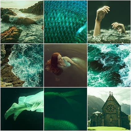 Aesthetic for Sea of Sorrows by Anstice Brown made using pictures from Pixabay and Unsplash, featuring the Scottish coastline and mermaids
